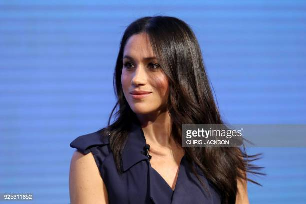 Meghan Markle US actress and fiancee of Britain's Prince Harry attends the first annual Royal Foundation Forum on February 28 2018 in London / AFP...