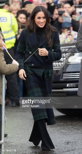 Meghan Markle visits Edinburgh Castle during a visit to Scotland on February 13 2018 in Edinburgh Scotland