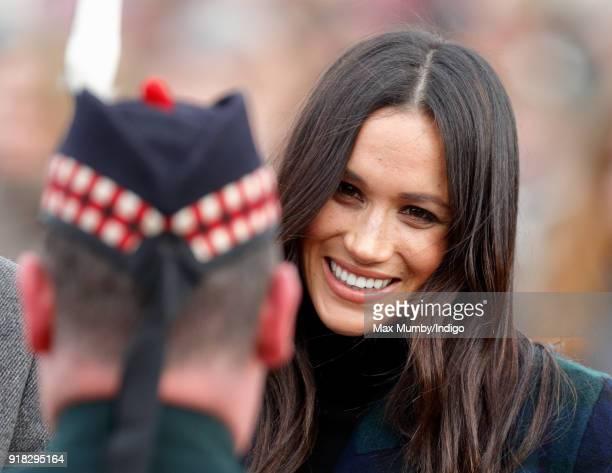 Meghan Markle visits Edinburgh Castle on February 13 2018 in Edinburgh Scotland