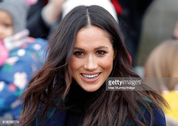 Meghan Markle visits Edinburgh Castle on February 13 2018 in Edinburgh Scotland