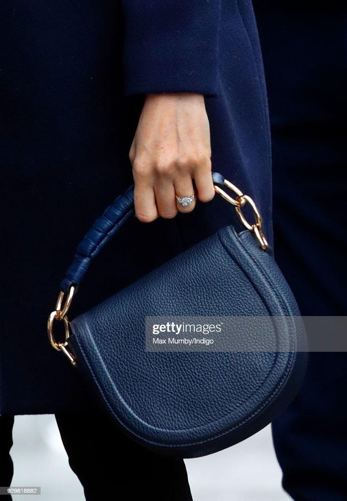 Meghan Markle (handbag detail) visits Millennium Point to attend an event celebrating International Women's Day on March 8, 2018 in Birmingham, England.