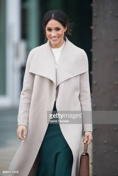 Meghan Markle visits the iconic Titanic Belfast during their visit to Northern Ireland on March 23 2018 in Belfast Northern Ireland United Kingdom