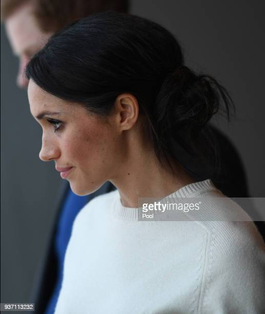 Meghan Markle visits the Titanic maritime museum with Prince Harry on March 23 2018 in Belfast Nothern Ireland