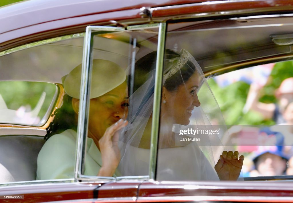 Meghan Markle (R) with her mother Doria Ragland arrive at Windsor Castle ahead of her wedding to Prince Harry on May 19, 2018 in Windsor, England. Prince Henry Charles Albert David of Wales marries Ms. Meghan Markle in a service at St George's Chapel inside the grounds of Windsor Castle. Among the guests were 2200 members of the public, the royal family and Ms. Markle's Mother Doria Ragland.