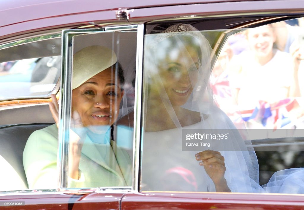 Meghan Markle (R) with her mother Doria Ragland arrives at Windsor Castle ahead of her wedding to Prince Harry on May 19, 2018 in Windsor, England. Prince Henry Charles Albert David of Wales marries Ms. Meghan Markle in a service at St George's Chapel inside the grounds of Windsor Castle. Among the guests were 2200 members of the public, the royal family and Ms. Markle's Mother, Doria Ragland.