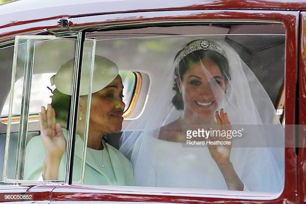 Meghan Markle with her mother Doria Ragland drive down the Long Walk as they arrive at Windsor Castle ahead of her wedding to Prince Harry on May 19...
