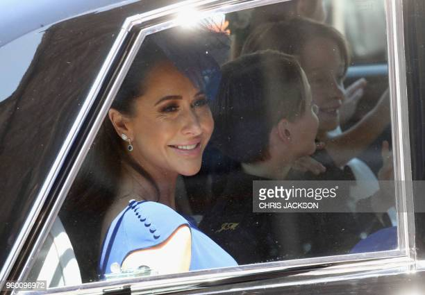Meghan Markle's friend Canadian fashion stylist Jessica Mulroney arrives for the wedding ceremony of Britain's Prince Harry Duke of Sussex and US...