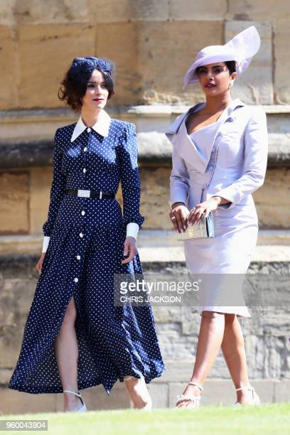 Meghan Markle's friend US actress Abigail Spencer and Meghan Markle's friend Indian actress Priyanka Chopra arrive for the wedding ceremony of...