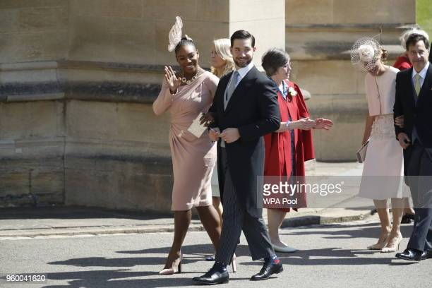 Meghan Markle's friend, US tennis player Serena Williams and her husband US entrepreneur Alexis Ohanian arrive for the wedding ceremony of Britain's...