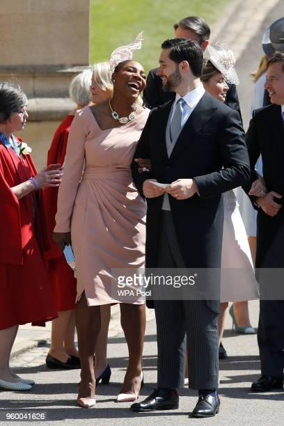 Meghan Markle's friend US tennis player Serena Williams and her husband US entrepreneur Alexis Ohanian arrive for the wedding ceremony of Britain's...