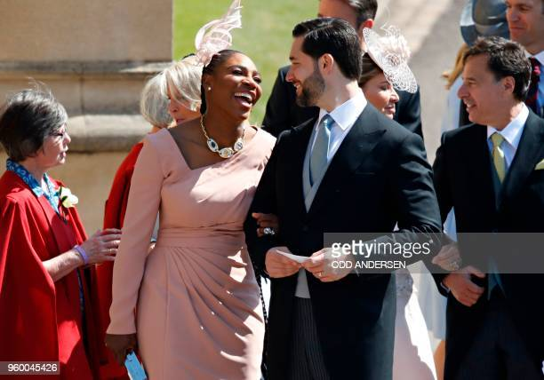 TOPSHOT Meghan Markle's friend US tennis player Serena Williams and her husband US entrepreneur Alexis Ohanian arrive for the wedding ceremony of...