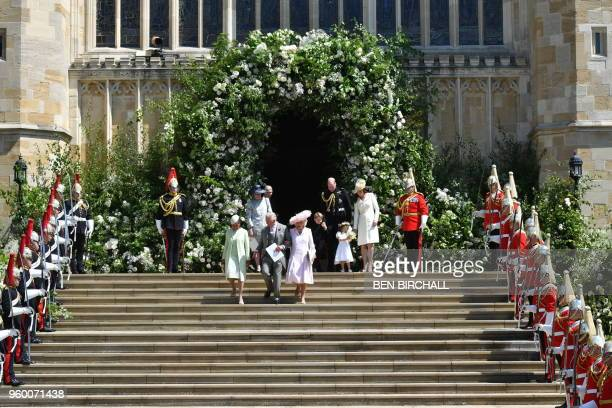 Meghan Markle's mother Doria Ragland Britain's Prince Charles Prince of Wales and Britain's Camilla Duchess of Cornwall walk down the west steps...