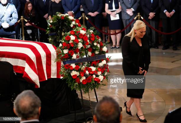Meghan McCain daughter of late US Senator John McCain cries as she turns from her father's casket during ceremonies honoring the late US Senator John...
