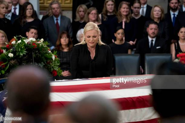 Meghan McCain daughter of Sen John McCain RAriz cries as she walks over to her father's casket as he lies in state in the Rotunda of the US Capitol...