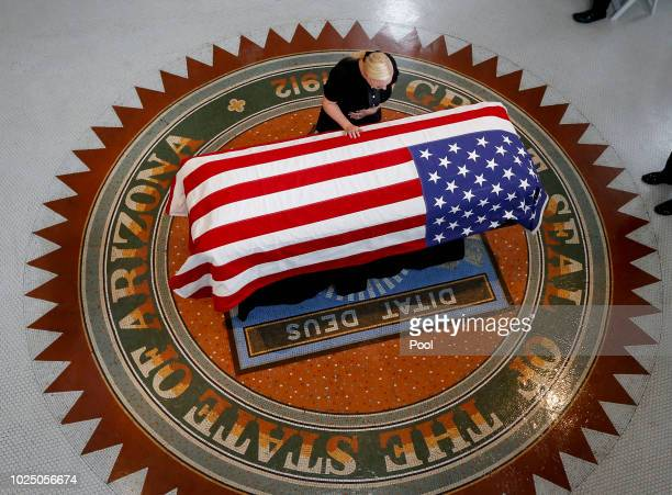 Meghan McCain daughter of Sen John McCain RAriz Touches the casket during a memorial service at the Arizona Capitol on August 29 2018 in Phoenix...