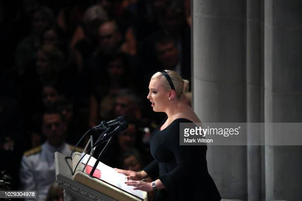 Meghan McCain delivers a eulogy during the funeral service for US Sen John McCain at the National Cathedral on September 1 2018 in Washington DC The...