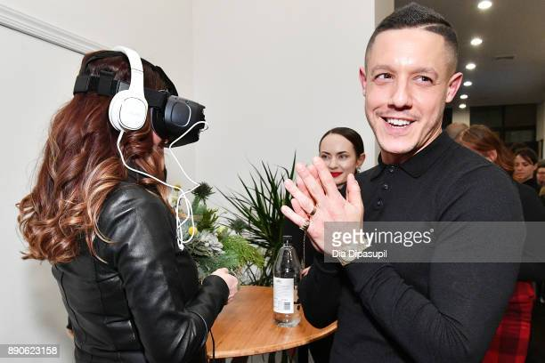 Meghan McDermott and actor Theo Rossi experience Samsung Gear VR during a party to celebrate the productÕs two year anniversary on December 11 2017...