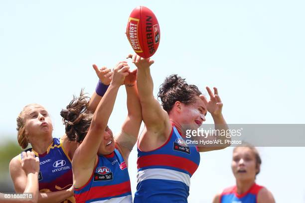 Meghan McDonald of the Bulldogs attempys a mark during the round six AFL Women's match between the Brisbane Lions and the Western Bulldogs at South...