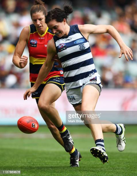 Meghan McDonald of the Cats during the AFLW Preliminary Final match between the Adelaide Crows and thew Geelong Cats at Adelaide Oval on March 24...
