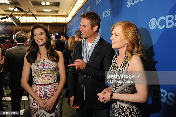 Meghan Ory Josh Holloway and Marg Helgenberger of the show Intellegence on the red carpet at the 2013 CBS Upfront presentation at Carnegie Hall on...