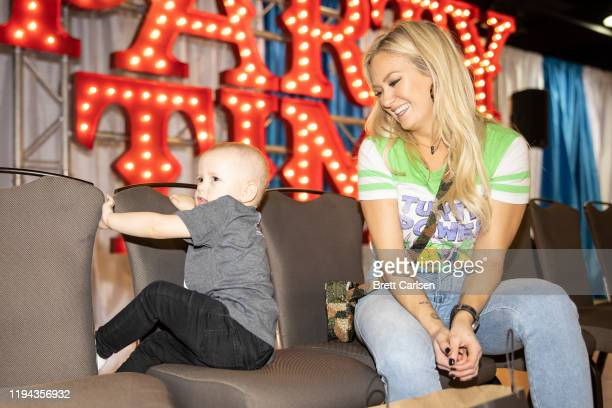 Meghan Patrick visits with a patient at Country Cares for St Jude Kids Seminar at The Peabody on January 17 2020 in Memphis Tennessee