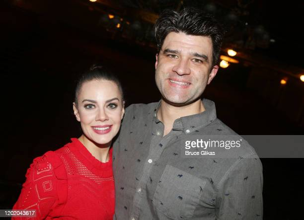 Meghan Picerno and Ben Crawford pose at the 32nd Anniversary Performance and Party for The Phantom of The Opera on Broadway at The Majestic Theatre...