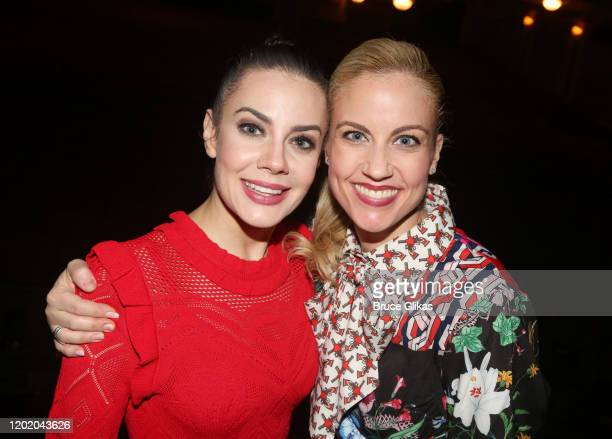 Meghan Picerno and Raquel Suarez Groen pose at the 32nd Anniversary Performance and Party for The Phantom of The Opera on Broadway at The Majestic...