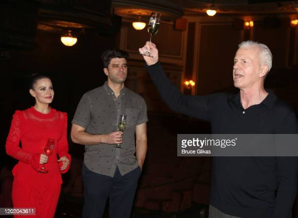 Meghan Picerno Ben Crawford and Musical Supervisor David Caddick during a toast for the 32nd Anniversary Performance and Party for The Phantom of The...
