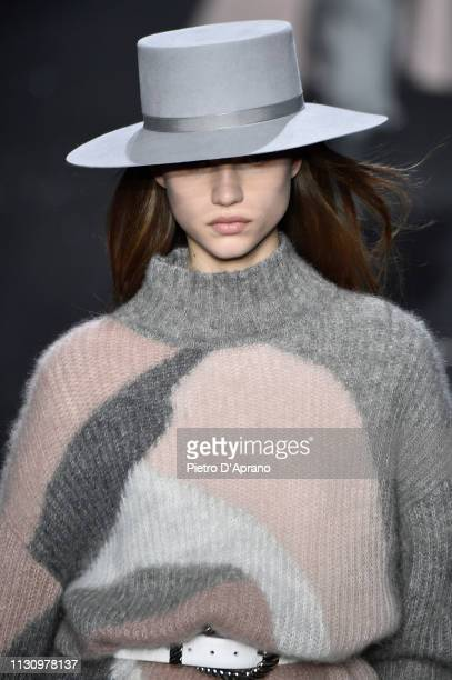 Meghan Roche walks the runway at the Alberta Ferretti show at Milan Fashion Week Autumn/Winter 2019/20 on February 20 2019 in Milan Italy