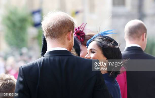 Meghan The Duchess of Sussex and Prince Harry the Duke of Sussex after the wedding of Princess Eugenie to Jack Brooksbank at St George's Chapel in...