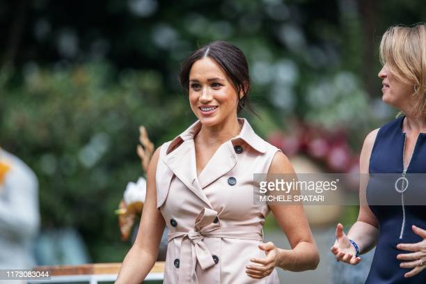Meghan the Duchess of Sussex arrives at the British High Commissioner residency in Johannesburg where she will meet with Graca Machel widow of former...