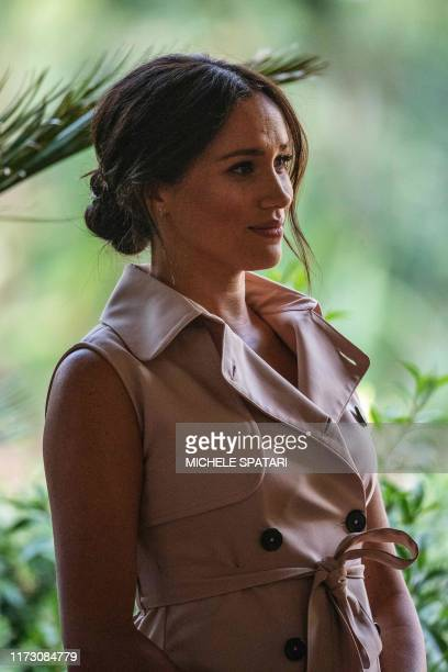 Meghan the Duchess of Sussex arrives at the British High Commissioner residency where she will meet with Graca Machel widow of former South African...