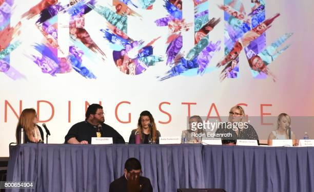 Meghan Tonjes Boogie2988 Anita Sarkeesian Hannah Witton Grace Miller and Meghan McCarthy speak onstage at 2017 VidCon at Anaheim Convention Center on...