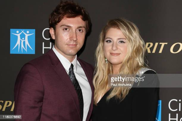 Meghan Trainor and Daryl Sabara attend the City Of Hope's Spirit Of Life 2019 Gala at The Barker Hanger on October 10 2019 in Santa Monica California