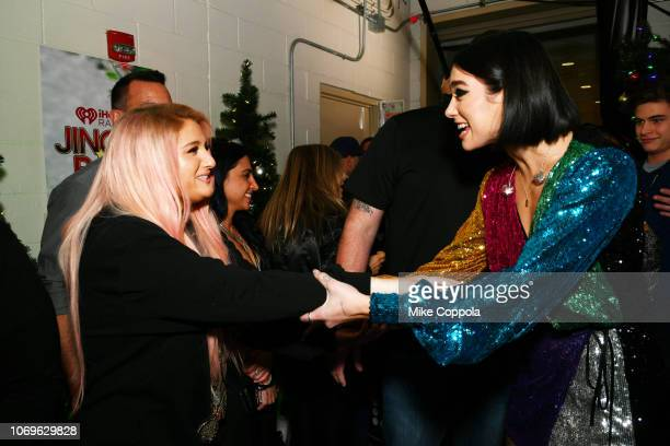 Meghan Trainor and Dua Lipa attend Z100's Jingle Ball 2018 at Madison Square Garden on December 7 2018 in New York City