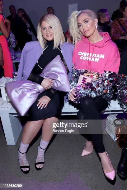 Meghan Trainor and Erika Jayne attend the front row for Christian Cowan during New York Fashion Week: The Shows at Gallery II at Spring Studios on...