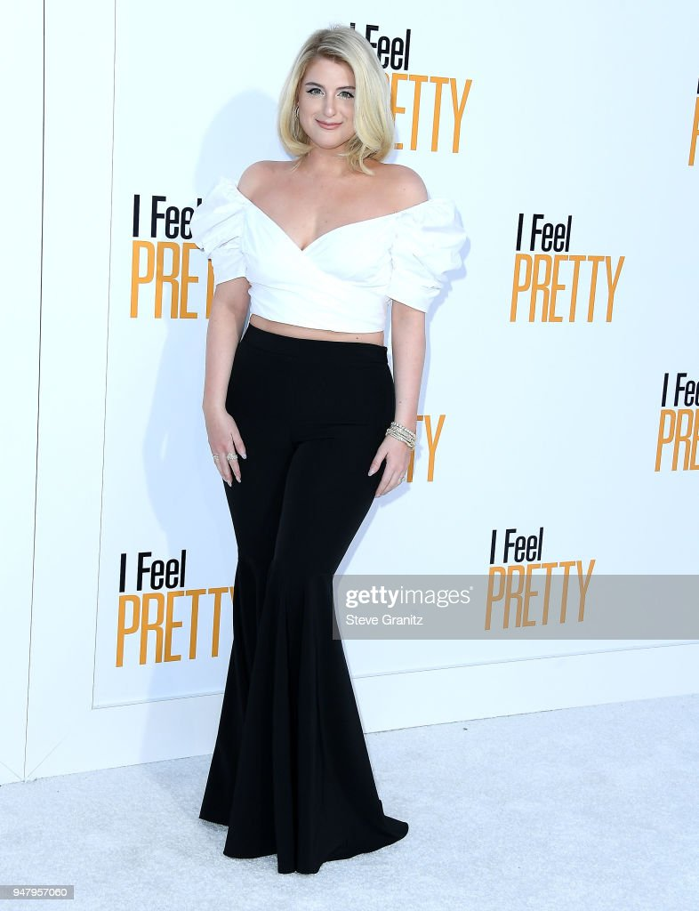 Meghan Trainor arrives at the Premiere Of STX Films' 'I Feel Pretty' at Westwood Village Theatre on April 17, 2018 in Westwood, California.