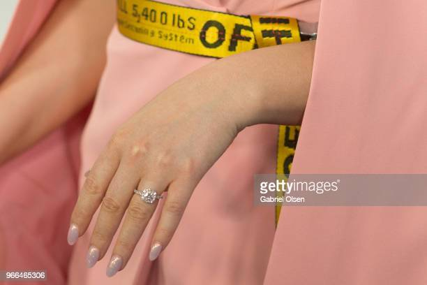 Meghan Trainor engagement ring detail arrives for iHeartRadio's KIIS FM Wango Tango By ATT at Banc of California Stadium on June 2 2018 in Los...