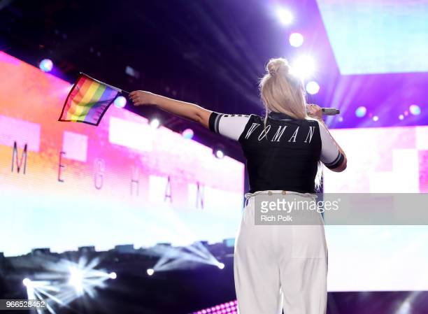 Meghan Trainor, fashion detail, performs onstage during the 2018 iHeartRadio Wango Tango by AT&T at Banc of California Stadium on June 2, 2018 in Los...