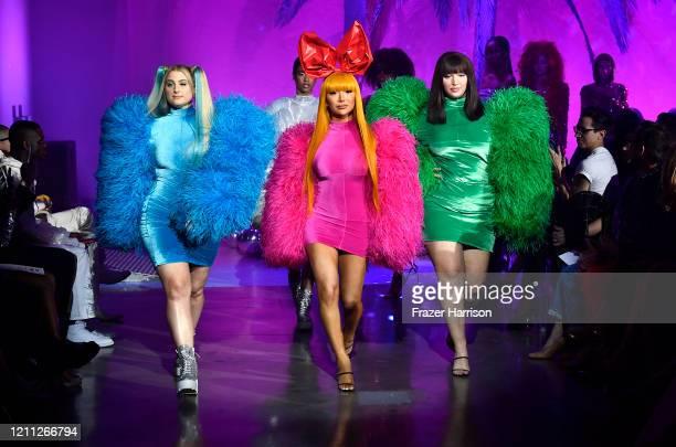 Meghan Trainor , model, Nikita Dragun walk the runway at the 2020 Christian Cowan x The Powerpuff Girls on March 08, 2020 in Los Angeles, California.