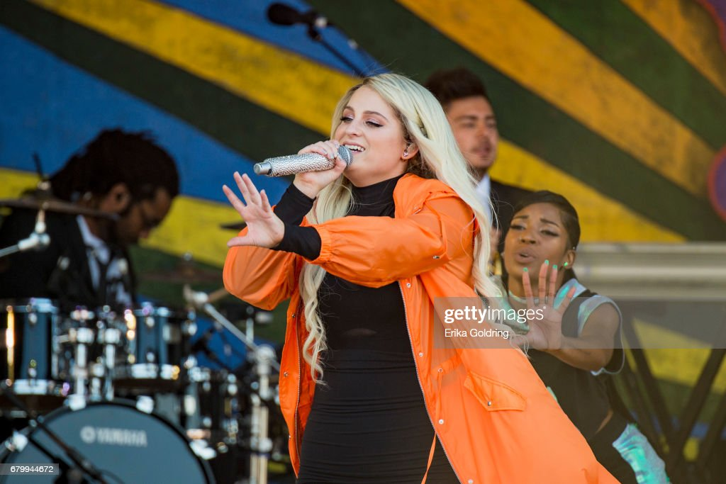 Meghan Trainor performs at the 2017 New Orleans Jazz & Heritage Festival at Fair Grounds Race Course on May 6, 2017 in New Orleans, Louisiana.