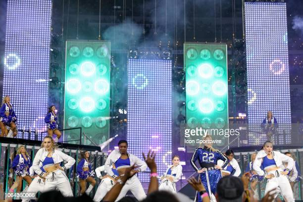 Meghan Trainor performs during halftime of the Thanksgiving Day game between the Washington Redskins and Dallas Cowboys on November 22 2018 at ATT...