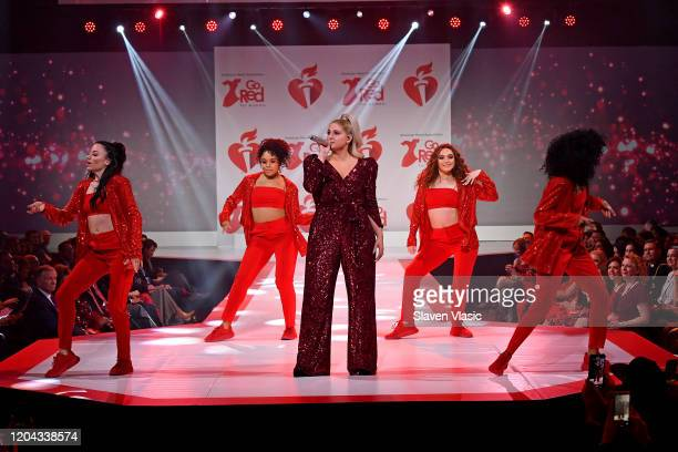 Meghan Trainor performs onstage at The American Heart Association's Go Red for Women Red Dress Collection 2020 at Hammerstein Ballroom on February 05...