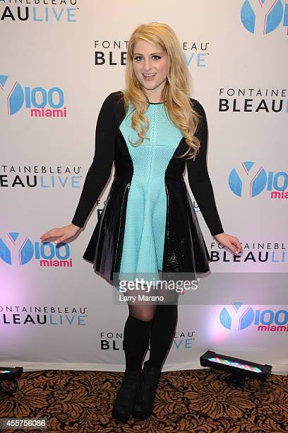 Meghan Trainor poses backstage during the Y100 All About That Bass Party at Fontainebleau Miami Beach on September 19 2014 in Miami Beach Florida