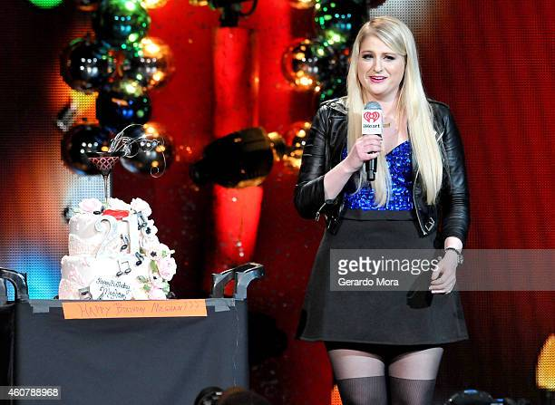 Meghan Trainor receives a birthday cake onstage to celebrate her 21st birthday during 93.3 FLZ's Jingle Ball 2014 at Amalie Arena on December 22,...