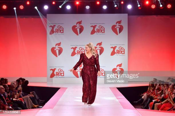 Meghan Trainor walks the runway at The American Heart Association's Go Red for Women Red Dress Collection 2020 at Hammerstein Ballroom on February 05...