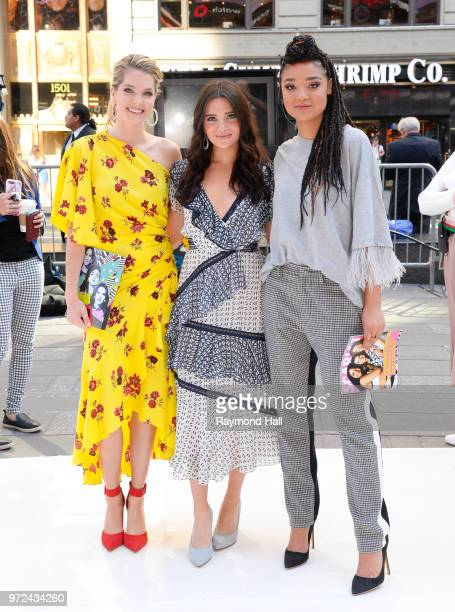 JUNE 12 Meghann Fahy Kate Stevens and Aishas Dee pose as they leave Good Morning America on June 12 2018 in New York City