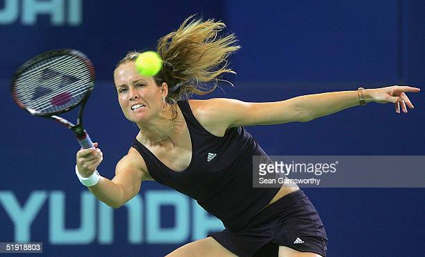 Meghann Shaughnessy of the United States hits a forehand against Daniela Hantuchova of the Slovak Republic during the Hopman Cup at the Burswood Dome...