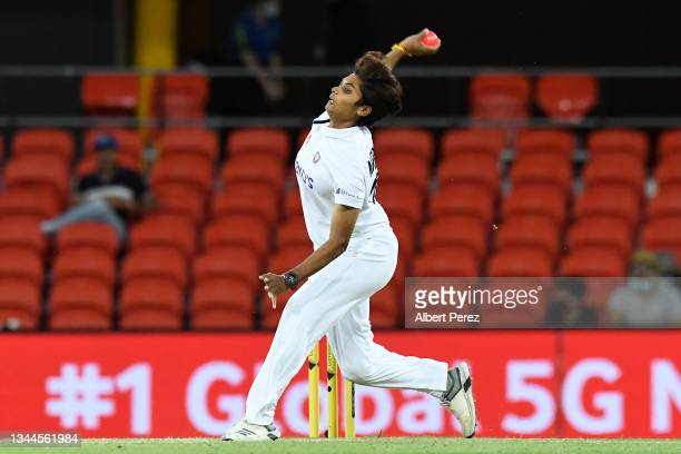 Meghna Singh of India bowls during day four of the Women's International Test Match between Australia and India at Metricon Stadium on October 03,...