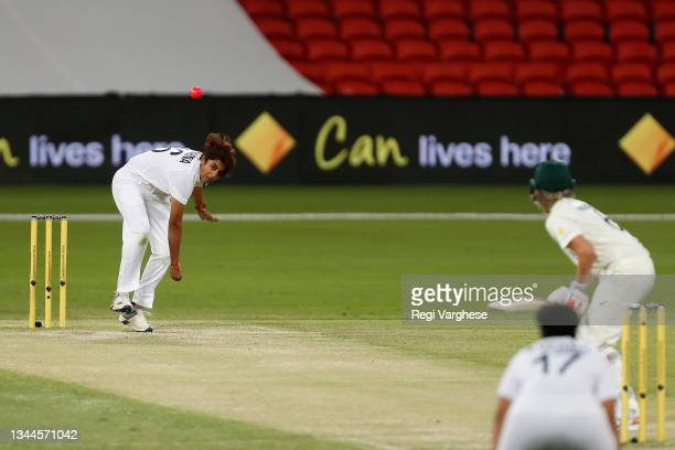 Meghna Singh of India during day four of the Women's International Test Match between Australia and India at Metricon Stadium on October 03, 2021 in...